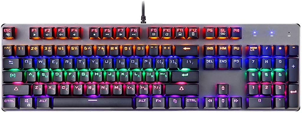Durable and Accurate Axis 7 Colors LED Backlit Ergonomic Wired Keyboard for Typing and Gaming JKRED K73 USB Gaming Mechanical Keyboard