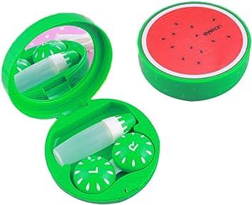 Con Espejo para Viaje Verde Caja de lentes de contacto Patrón de ...