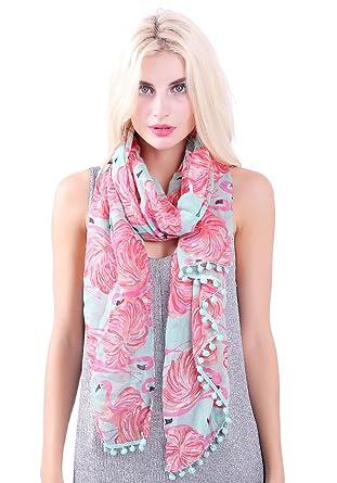 a285260ec1205 Flamingo Print Pompom Tassel Scarfs for Women Long Wrap Shawl Scarves By  DiaryLook
