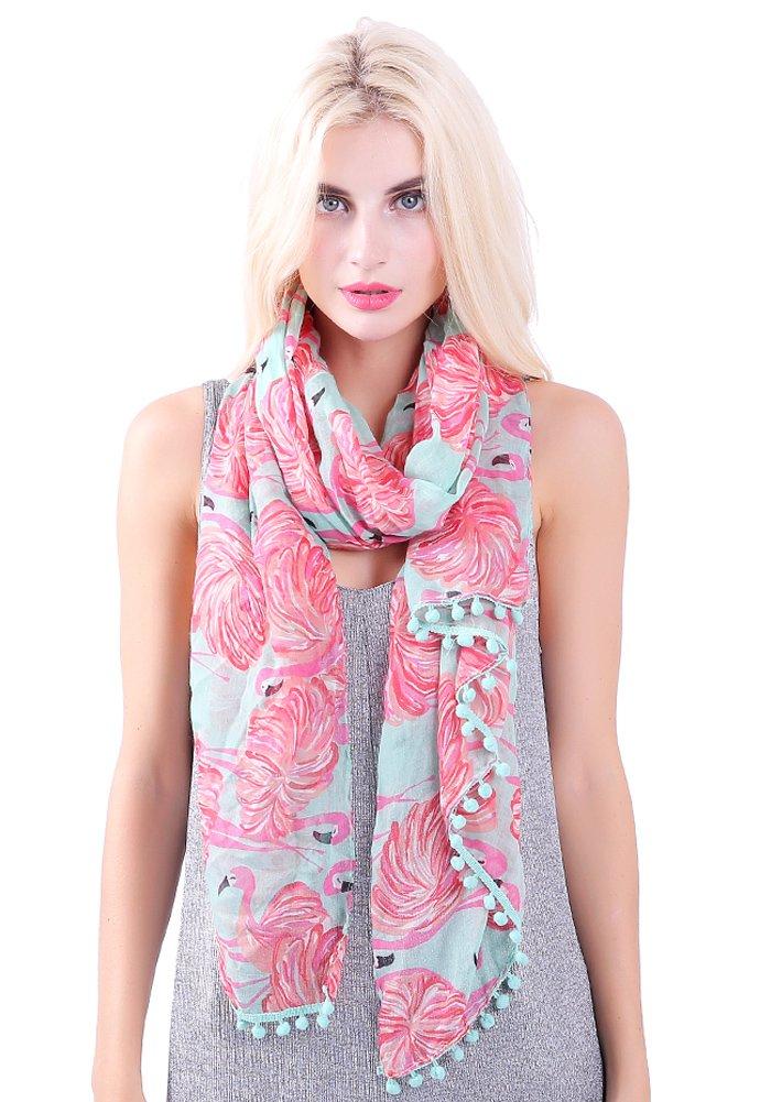 MissShorthair Flamingo Print Scarf with Tassels for Women