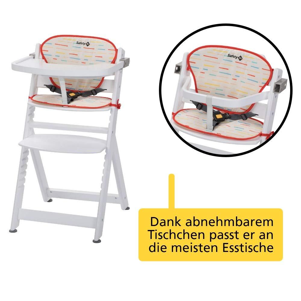 hohe R/ückenlehne Buchenholz 6 Monaten bis ca max. 30 kg Ohne Tischchen ab ca wei/ß aus massivem Buchenholz Safety 1st Timba Mitwachsender Hochstuhl 10 Jahre