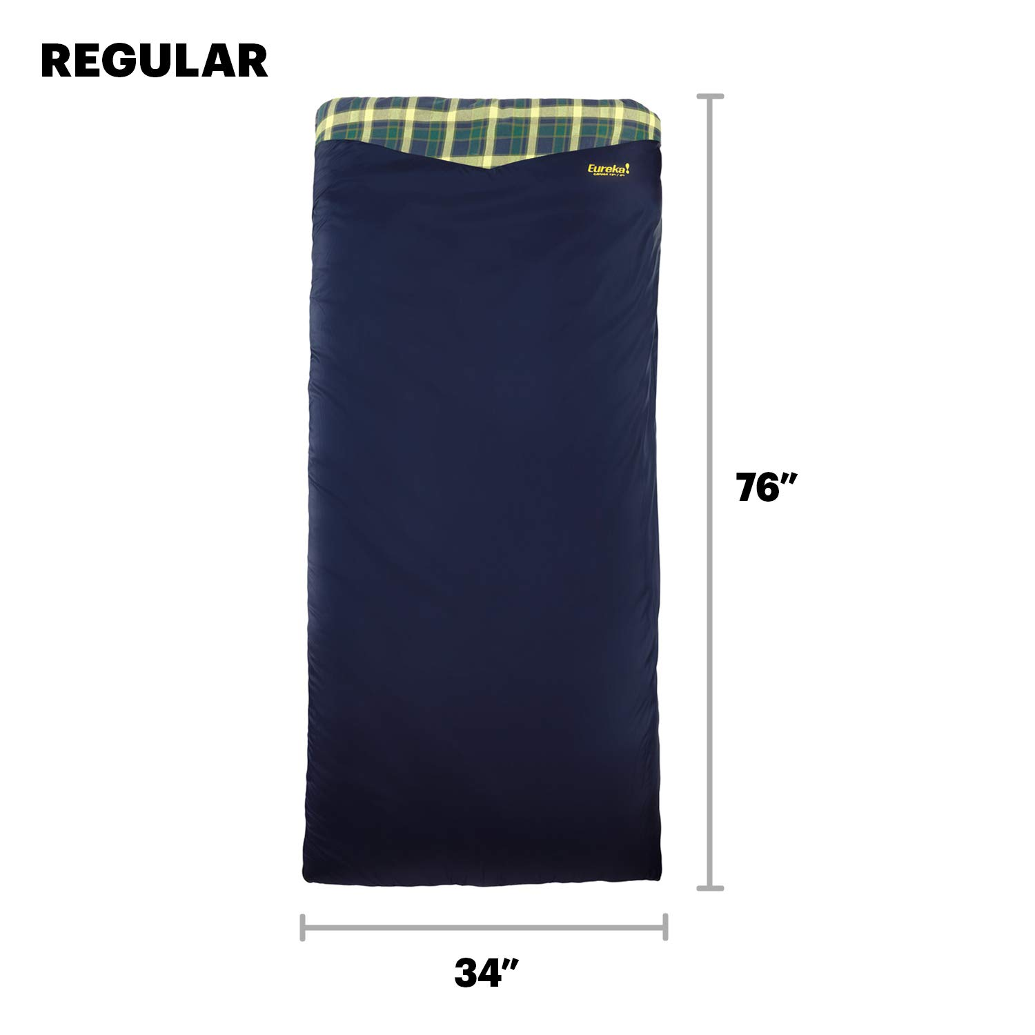 Eureka Johnson Outdoors Cayuga Flannel-Lined Sleeping Bag Right Zip Regular Size Blue 4 Pounds 2 Ounces US 2631191
