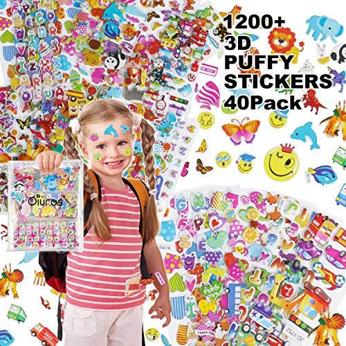 Oiuros Kid Puffy Stickers (1200 +), Kids Scrapbooking, 40 Different Sheets, Random Including Cute Fish and Animals,Butterflies, Cars, Airplane, Letters, Numbers and More(40 ()