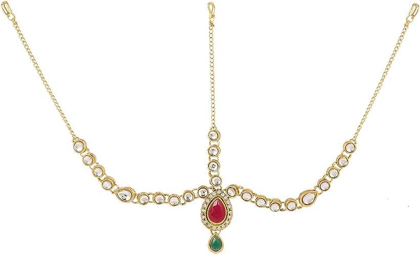prom hair accessories indian wedding jewellery Maang tikka gold Maangtikka set with earrings bollywood jewelry sets headpiece