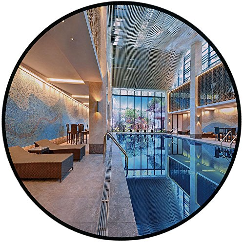 - Printing Round Rug,Spa Decor,Indoor Swimming Pool with Relaxing Long Seats Calming Image Mat Non-Slip Soft Entrance Mat Door Floor Rug Area Rug For Chair Living Room,Turquoise Light Blue and White