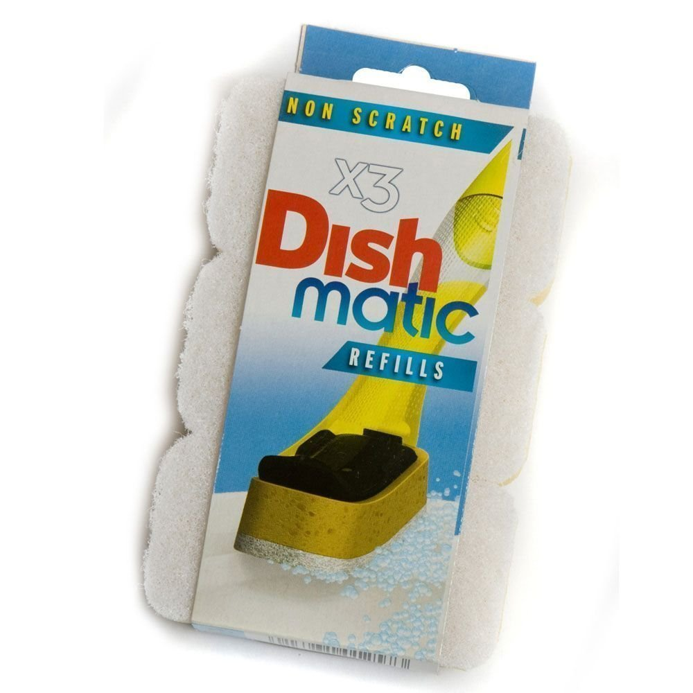 9x White Non-Scratch Dishmatic Refill Sponges from Caraselle