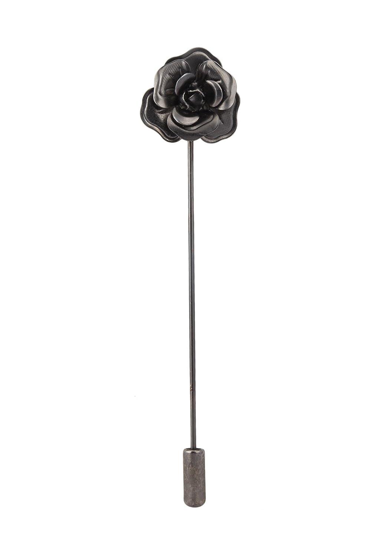 Knighthood Formal Black Metalic Flower Lapel Pin