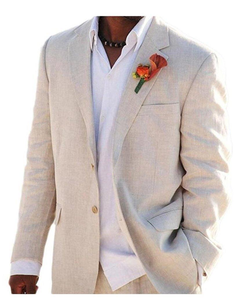 Ivory Summer Beach Wedding Suits 2 Pieces Men Suits Groom Tuxedos 2 Buttons (38 chest/32 Waist, Beige)