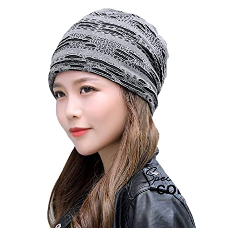 Amazon.com  Chinashow Unisex Stylish Beanie Hat Slouchy Baggy Winter Knit  Hats Warm Snow Ski Cap Hole Style 25204f857c3