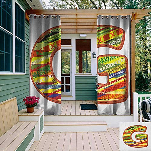 un Zero Outdoor Curtains, G Letter Character Language System Learning College Surname Red Calligraphy Design, Fabric by The Yard W96 x L96 Inch Multicolor ()