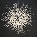 GDNS Chandeliers Firework LED Light Stainless Steel Crystal Pendant Lighting Ceiling Light Fixtures Chandeliers Lighting,Dia 23.5