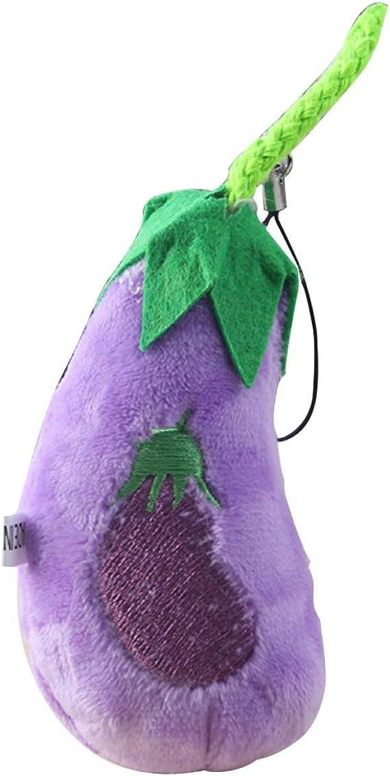 JiXUN Profesional 2 Piezas Caliente Múltiple Modelos Todos Frutas Nuevo Verduras Mini Aprox Relleno Muñecas Peluche Llavero Bolsa Decoración Mejor - Berenjena: Amazon.es: Juguetes y juegos