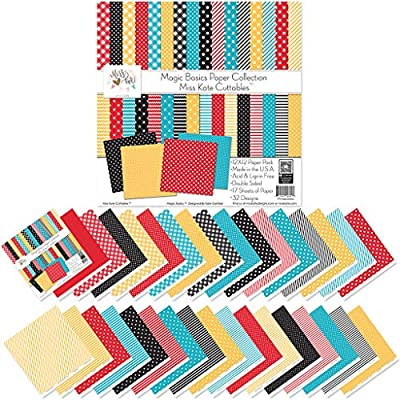 Pattern Paper Pack Magic Basics Scrapbooking Card Making Crafting for Disney 17 Double-Sided 12x12 Collection Includes 34 Patterns by Miss Kate Cuttables
