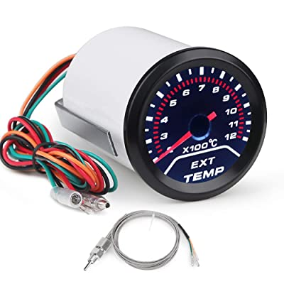 "WATERWICH EGT Exhaust Gas Temperature Gauge 200-1200 Celsius Pyrometer Kit 2-1/16"" 52mm Includes Electronic Sensor Black Dial Universal for Car Truck Vehicle Automotive: Automotive"