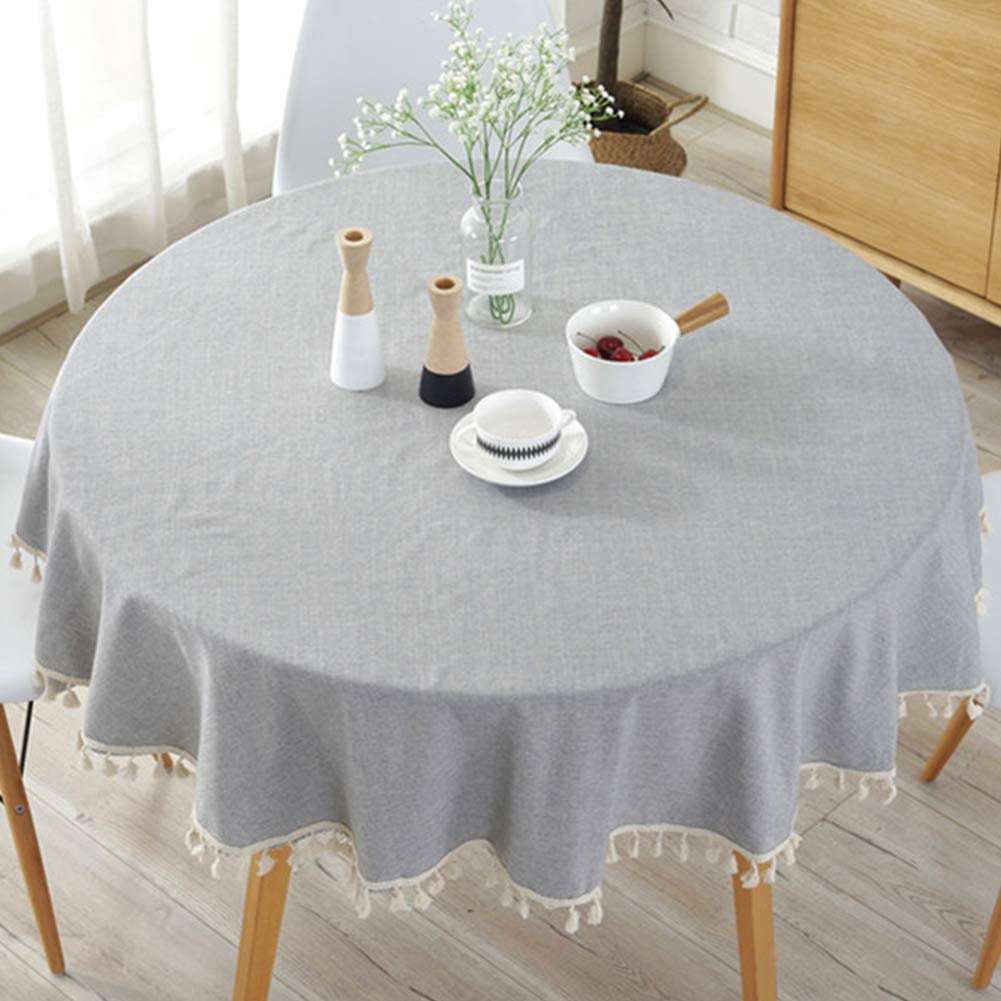 Navy Blue EMVANV Simple Tassel Round Tablecloth,Cotton Linen Fabric Dust-proof Table Cover for Kitchen Dinning Tabletop Decoration Table Top Cover