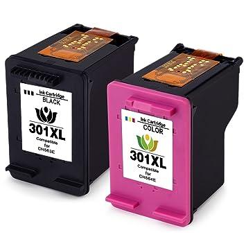 4inx Cartuchos Reemplazo para HP 301XL 301 XL V1 Set de cartuchos de tinta remanufacturados, negro y color, con nivel de tinta, 4507 e-AiO 4643 (1 ...