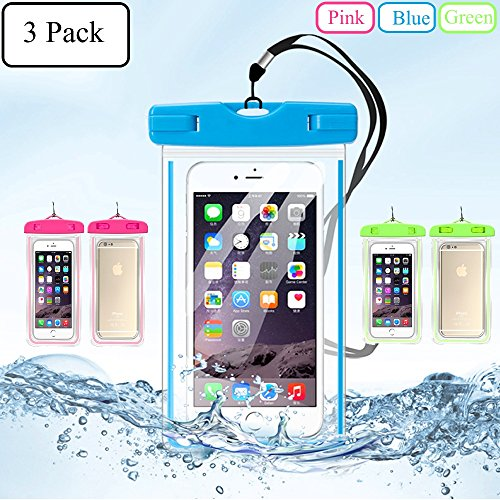 iPhone Waterproof Case,Waterproof Bag,3 Pack Noctilucent Cellphone Underwater Dry Pouch Waterproof Cases Cover for iPhone 7 7Plus 6S 6SPlus up to 5.8''-Pink Blue Green Cover Water