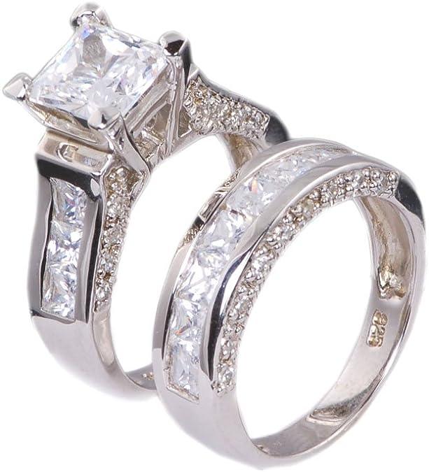 Set de 3 piezas de anillos de boda, para él y ella, talla princesa ...