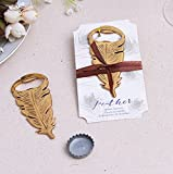 96pcs Gold Feather Bottle Opener For Wedding Party Favor Gift