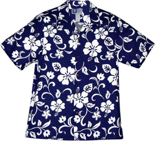 RJC Men's Hibiscus Pareo Hawaiian Shirt Royal X-Large