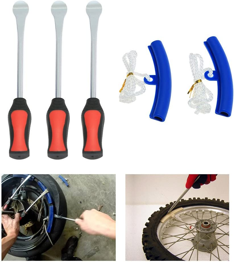 2 Wheel Rim Protectors Tool Kit for Motorcycle Bike Tire Changing Removing Tickas Tire Changing,3 Tire Lever Tool Spoon
