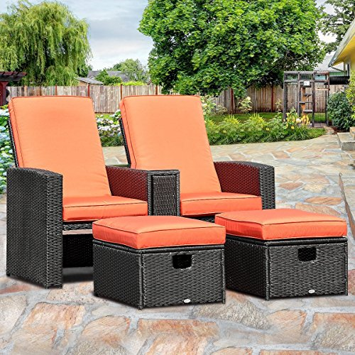 TANGKULA 3 PCS Patio Adjustable Backrest Rattan Sofa Ottoman Furniture Set Outdoor Garden Lawn Conversation Sofa Furniture Set w/Cushions Foot Rest Stool (3 Piece Body Cushion)