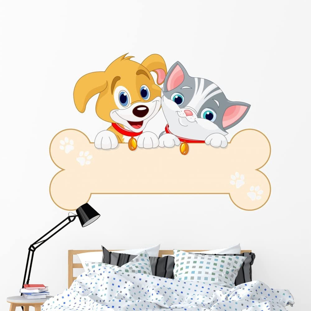 Amazon Com Wallmonkeys Fot 92404894 60 Wm362944 Cat And Dog Sign Peel And Stick Wall Decals 60 In W X 44 In H Jumbo Home Kitchen