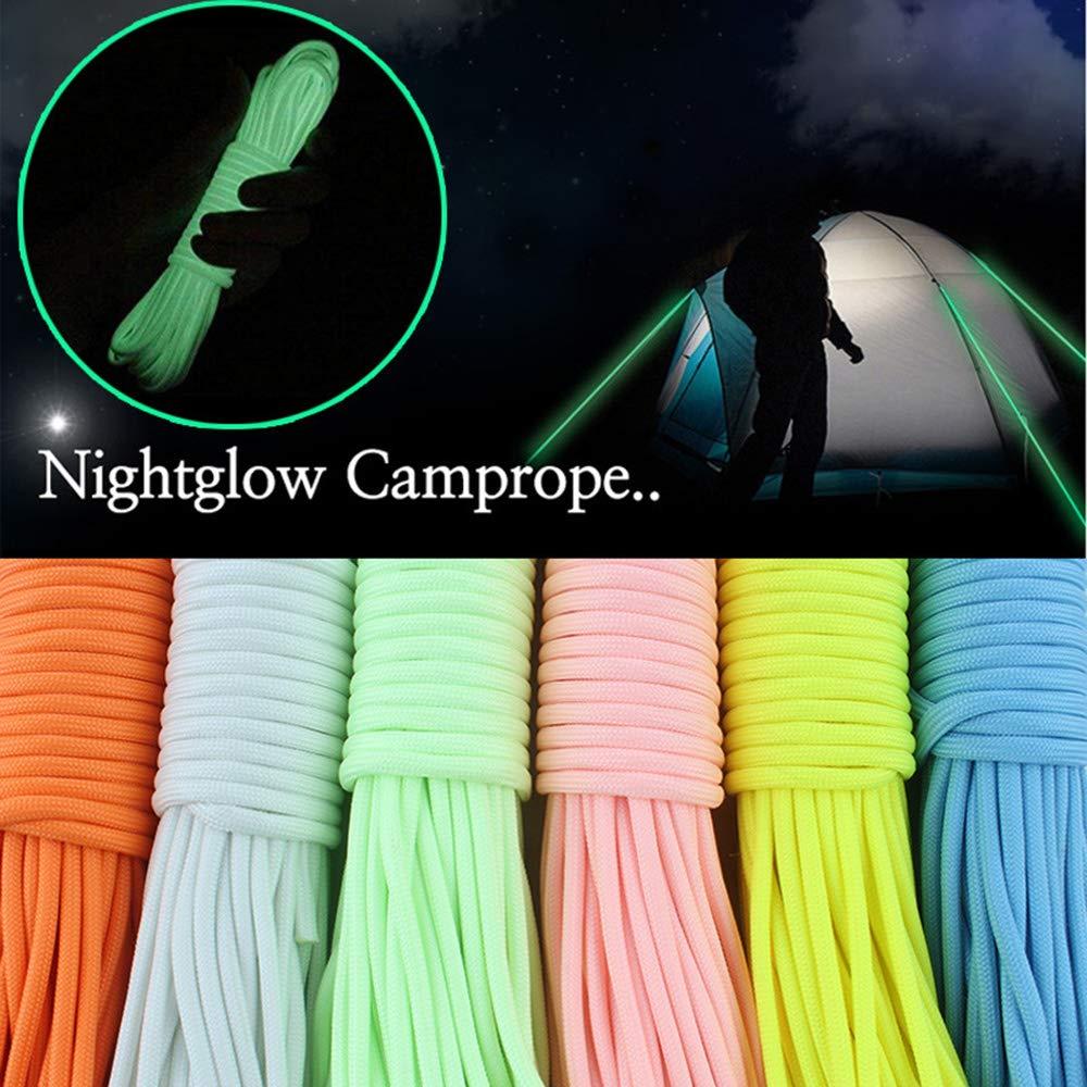 XINGXINGFAN Nigh Glow Cuerda de Camping Cuerda de Escalada Fluorescente Cuerda de Tienda de campa/ña Actividades al Aire Libre Poli/éster de Nylon de 9 n/úcleos Luz Completa