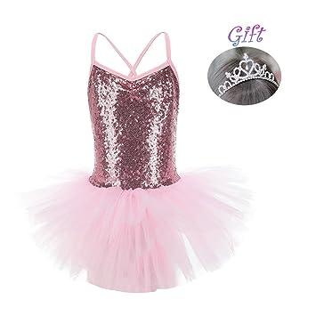 Hougood houg – Vestido de Danza para niña Lentejuelas Princesa Vestido de Ballet Disfraces Gimnasia Trikots