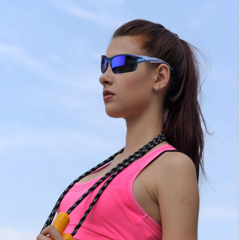 LANXUANR Polarized Sports Sunglasses with 5 Interchangeable Lenses TR90 Superlight Frame