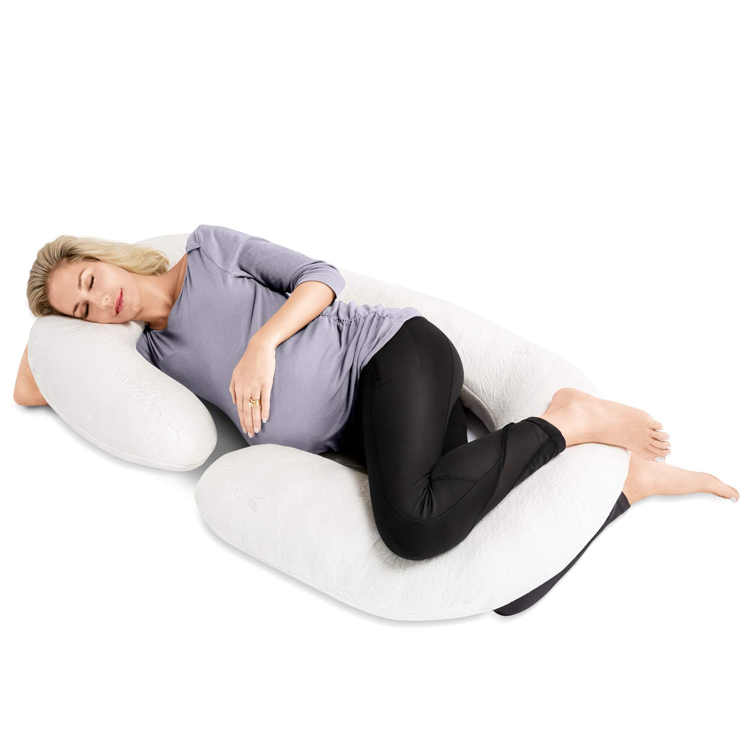Zen Bamboo Full Body Pregnancy Pillow - Maternity & Nursing Support Cushion & Body Pillow with Ultra-Soft, Washable Rayon from Bamboo Blend Cover ZB-PRGNNCYPILLW