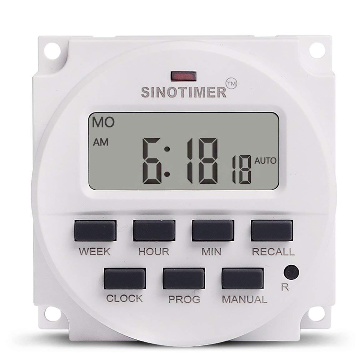 Delicacydex SINOTIMER TM618N-1 110V LCD Digital AC Programable Temporizador Interruptor con relé listado en UL con función de Tiempo de Cuenta atrás - Blanco
