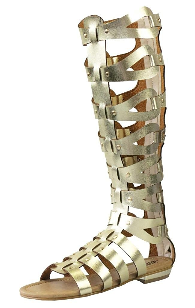 Women's Gold Gladiator Wide Faux Leather Strap Knee-High Flat Sandals - DeluxeAdultCostumes.com