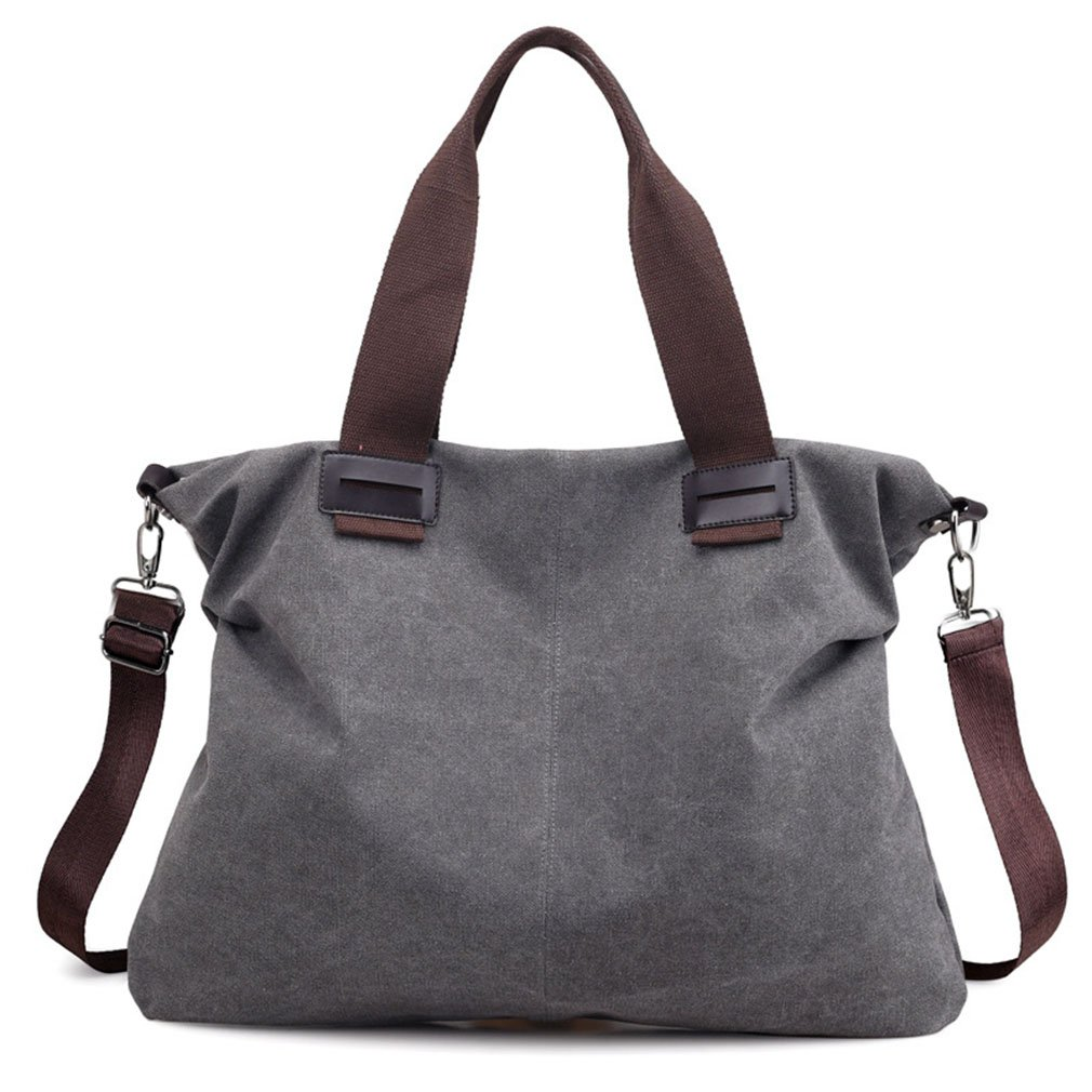 Women's Canvas Vintage Shoulder Bag Hobo Daily Purse Tote Top Handle Shopper Handbag (Grey) by Sunshinejing