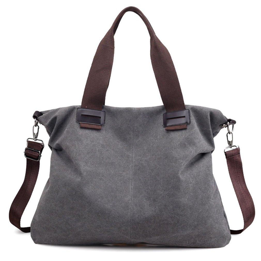Women's Casual Vintage Hobo Canvas Daily Purse Top Handle Shoulder Tote Shopper Handbag (Medium Grey)