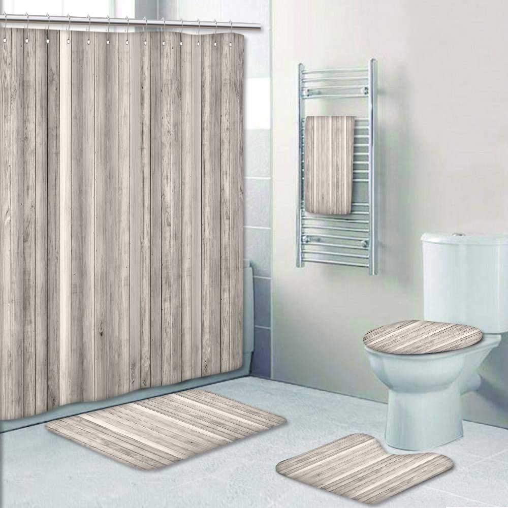 Philip-home 5 Piece Banded Shower Curtain Set White Wood Plank Texture Panorama Decorate The Bath