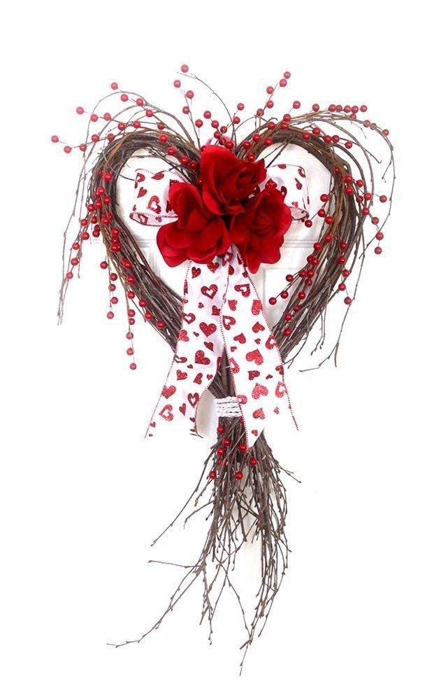 Amazoncom Valentine Heart Red Rose Wreath For Front Door