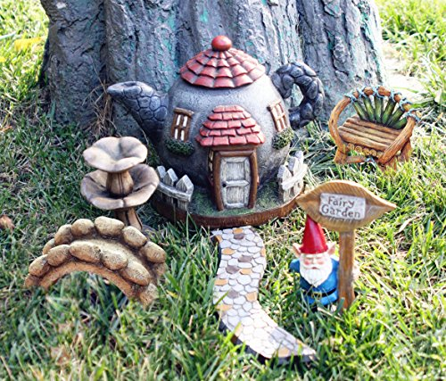 Enchanted Fairy Garden Kit (Fairy Garden Kit Accessories Set 6pcs, Hand Painted Gnome Statues, Indoor and Outdoor Decor Gifts)