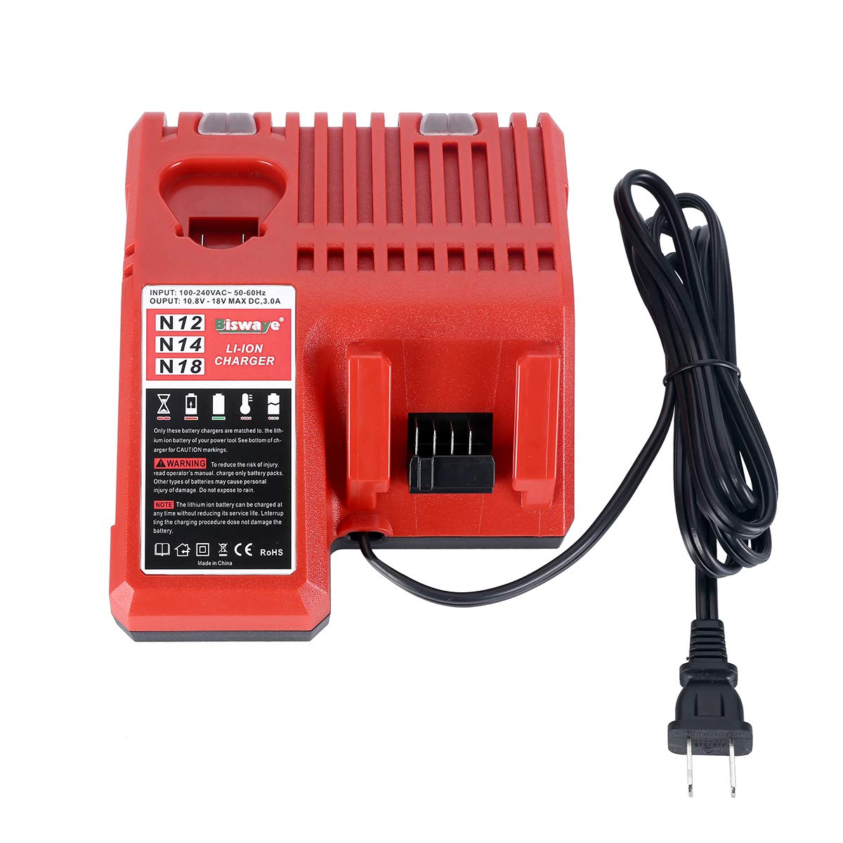 Biswaye M12 & M18 Multi-Voltage Battery Charger 48-59-1812 Compatible with Milwaukee M12 M14 M18 Lithium Battery 12V-18V 48-11-2412 48-11-2401 48-11-2440 48-11-1862 48-11-1850 48-11-1852