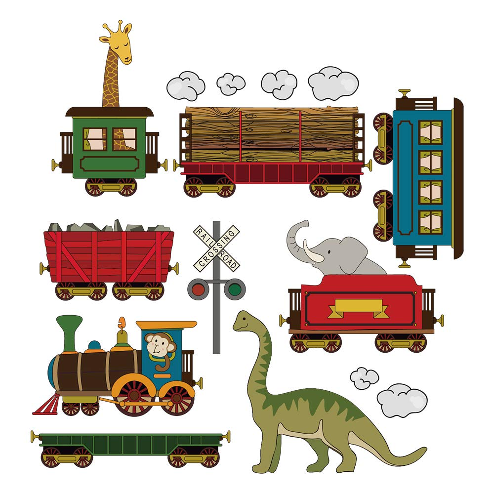 DecalMile Animal Train Wall Decals Dinosaur Elephant Giraffe Wall Stickers Peel and Stick Removable Vinyl Wall Decor for Kids Bedroom Baby Nursery Children's Room