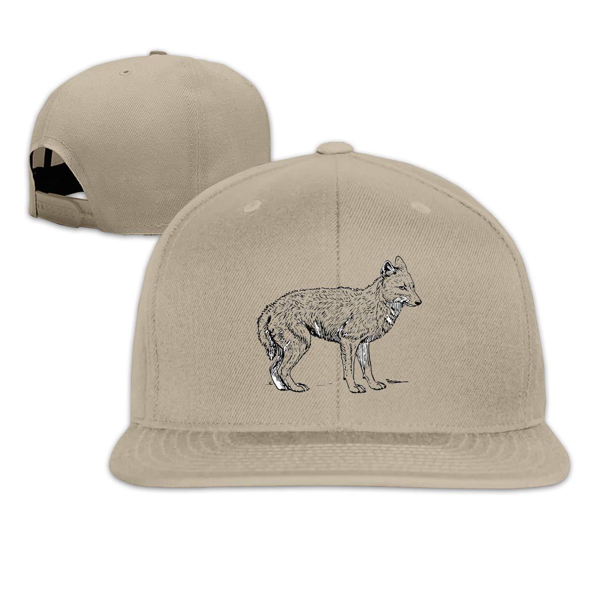 Xieadery Jackal Flat Brim Baseball Cap Adjustable Snapback Trucker Hat Caps Hip Hop Hat