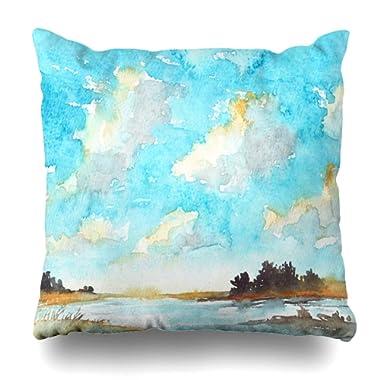 Ahawoso Throw Pillow Cover Pillowcase Sky Blue Abstract Watercolor Summer Nature Lake Mist Artistic Calm Cloud Design Home Decor Design Square Size 16 x16  Zippered Cushion Case