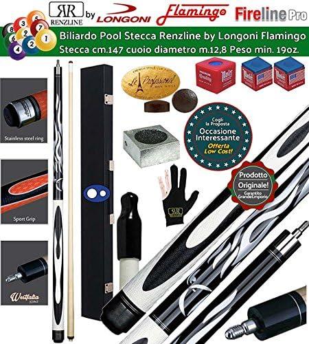 Billar Pool palos profesionales Renzi Line by Longoni. Flamingo Fire 2, Taco desmontable, L. cm.147. punta de madera, piel m.12,8 con maletín Fire 1 + 1, accesorios, recambios y Omaggio.: Amazon.es: Deportes