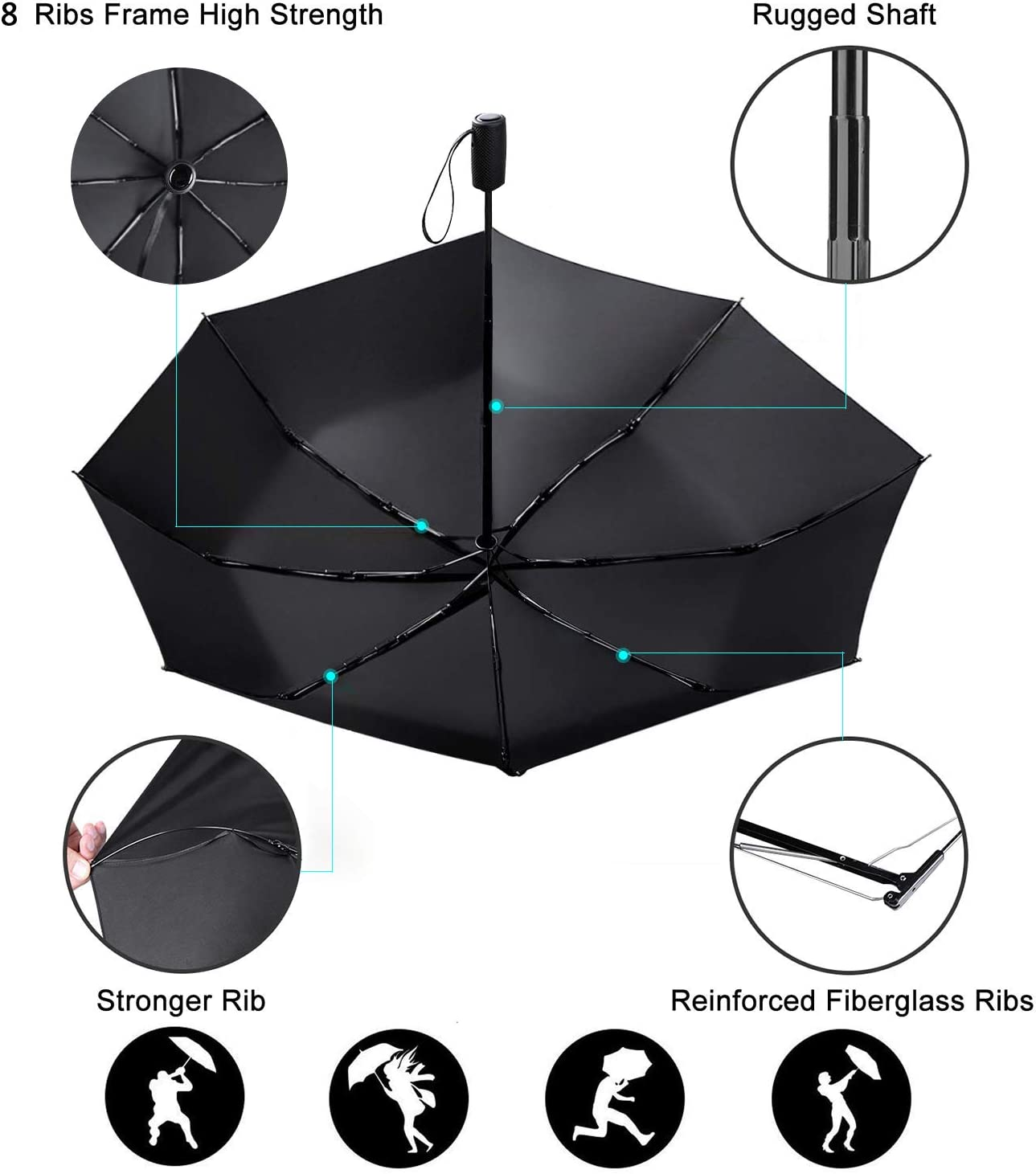 Auto Open//Close for One Handed Operation Ergonomic Non-Slip Handle Compact Umbrella,Hipster Cocktail Daiquiri Automatic Folding Travel Umbrella,Windproof Reinforced Canopy