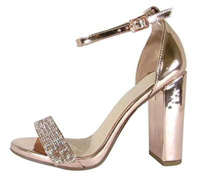 8fca42201 Cambridge Select Women s Open Toe Single Band Glitter Crystal Rhinestone  Ankle Strap Chunky Block Heel Sandal