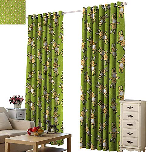 Homrkey Windshield Curtain Anime Kids Toy Rabbits Pattern on a Green Background with Doodle Carrots Light Blocking Drapes with Liner W108 xL72 Apple Green Yellow and White
