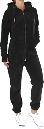 M Finchgirl F2001 Damen Jumpsuit Teddy Fleece Dunkelgrau Gr