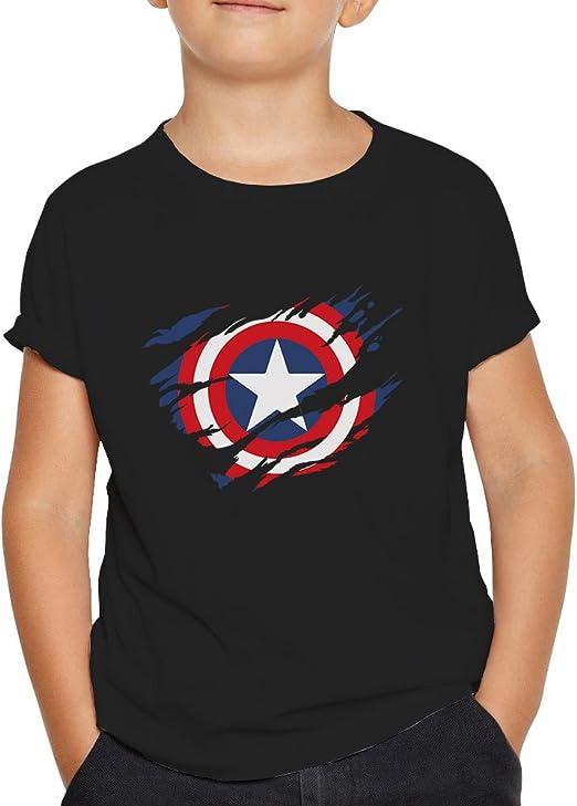 OKAPY Camiseta Capitan America. Una Camiseta de Niño con el Escudo de Capitán América Rasgado.Camiseta Friki de Color Negro: Amazon.es: Ropa y accesorios