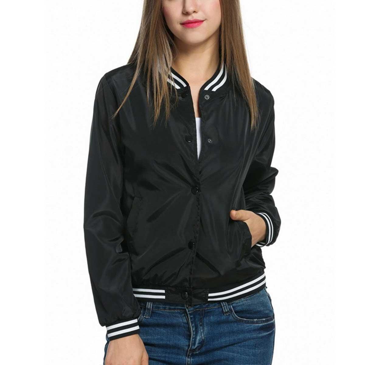 Celmia Womens Fashion Long Sleeve Ribbed Cuffs Collar Solid Bomber Jacket Ladies Baseball Coat Outwear Black 2XL