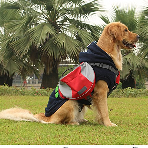Lifeunion Saddle Bag Backpack for Dog, Tripper Hound Bag Travel Hiking Camping (Red + Grey, M)